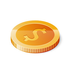 gold dollar coin icon isolated on white background vector image