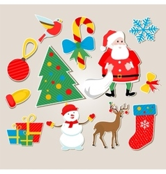 set of stickers Christmas vector image