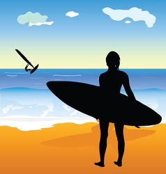 Surfing people and beach vector