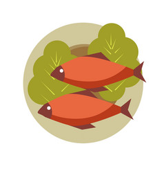 two grilled fish on round plate with fresh lettuce vector image vector image