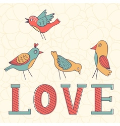 Beautiful love card with birds vector image vector image