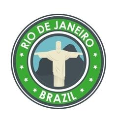 rio de janeiro brazil statue jesus emblem graphic vector image