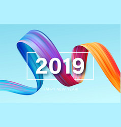 2019 new year of a colorful brushstroke oil vector image