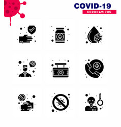 9 solid glyph black coronavirus covid19 icon pack vector image
