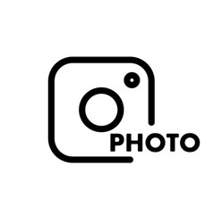 a simple camera icon with the caption vector image