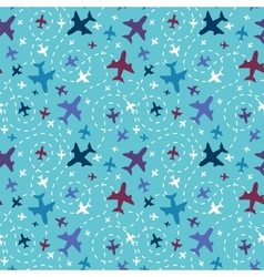 Airplanes in the sky seamless pattern background vector image