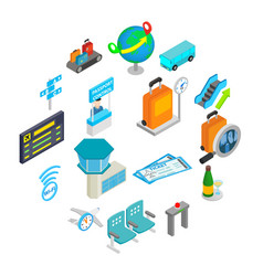 airport isometric 3d icons vector image