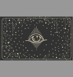 All-seeing eye on a black background with arabic vector