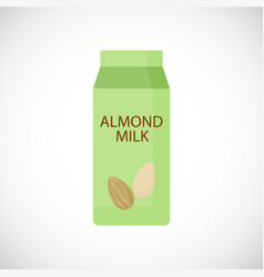 almond milk in box flat icon vector image