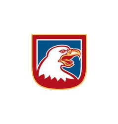 American Bald Eagle Head Shield Retro vector