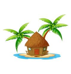An island with a nipa hut vector