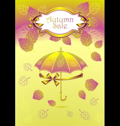 Autumn background with label bows ribbons leaves u vector image vector image