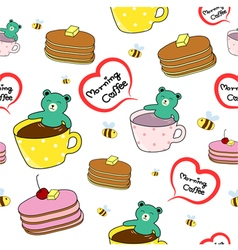 Bear smiling in a cup pancake and bee pattern vector
