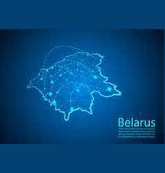belarus map with nodes linked by lines concept of vector image