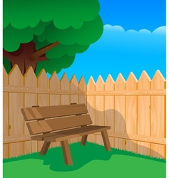 Bench and a fence vector image