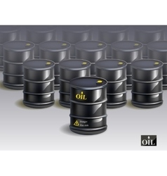 big group of black new oil barrels vector image