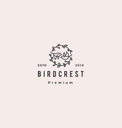 Bird leaf crest logo hipster retro vintage icon vector