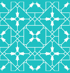 Blue arabic ornamental ceramic tile vector