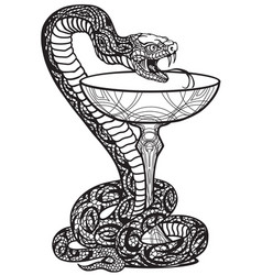 bowl hygieia with a snake twined around vector image