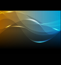bright glowing tech curved waves background vector image