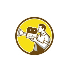 Cameraman Cradling Vintage Movie Camera Circle vector image