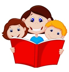 Cartoon Mother reading book to her children vector