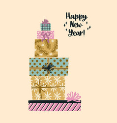 christmas and happy new year trendy vector image