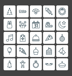 Christmas icons set collection of festive vector