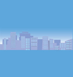 city skyline with blue sky with sun and clouds vector image
