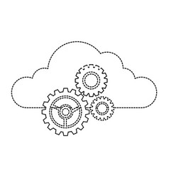cloud with gears icon vector image