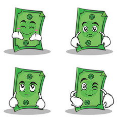 Collection set dollar character cartoon style vector