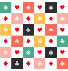 Colorful Card Suits Chess Board Background vector image
