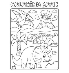 Coloring book dinosaur subject image 6 vector