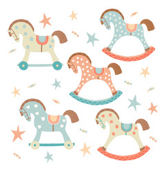 cute toy rocking horse set kids first toys baby vector image