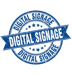 Digital signage round grunge ribbon stamp vector