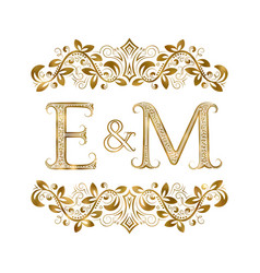 e and m vintage initials logo symbol vector image