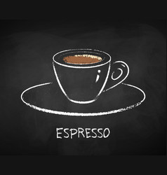 Espresso coffee cup on chalkboard background vector