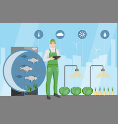 Farmer in the greenhouse with aquaponics system vector