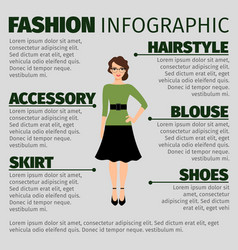 Fashion infographic with young female teacher vector