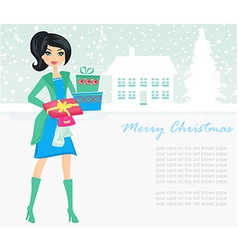 fashion shopping girl with shopping bags and gift vector image vector image