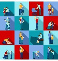Fatherhood flat set vector image