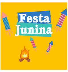 Festa junina bonfire rocket fireworks orange backg vector