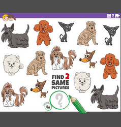 Find two same cartoon purebred dogs educational vector