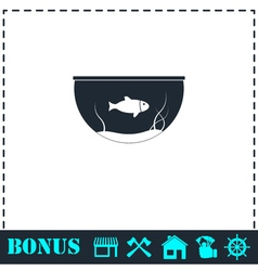 Fish aquarium icon flat vector image