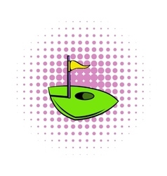 Flag on a golf course icon comics style vector image