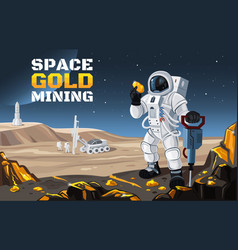 Flat a space gold mining vector