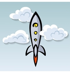 Flying rocket in the sky hand drawn vector image