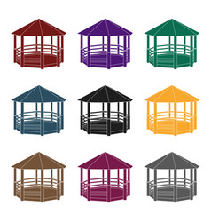 gazebo icon in black style isolated on white vector image