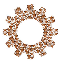 Gear wheel composition of puppy icons vector