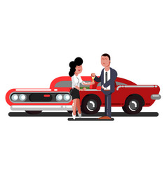 girl buy a car vector image